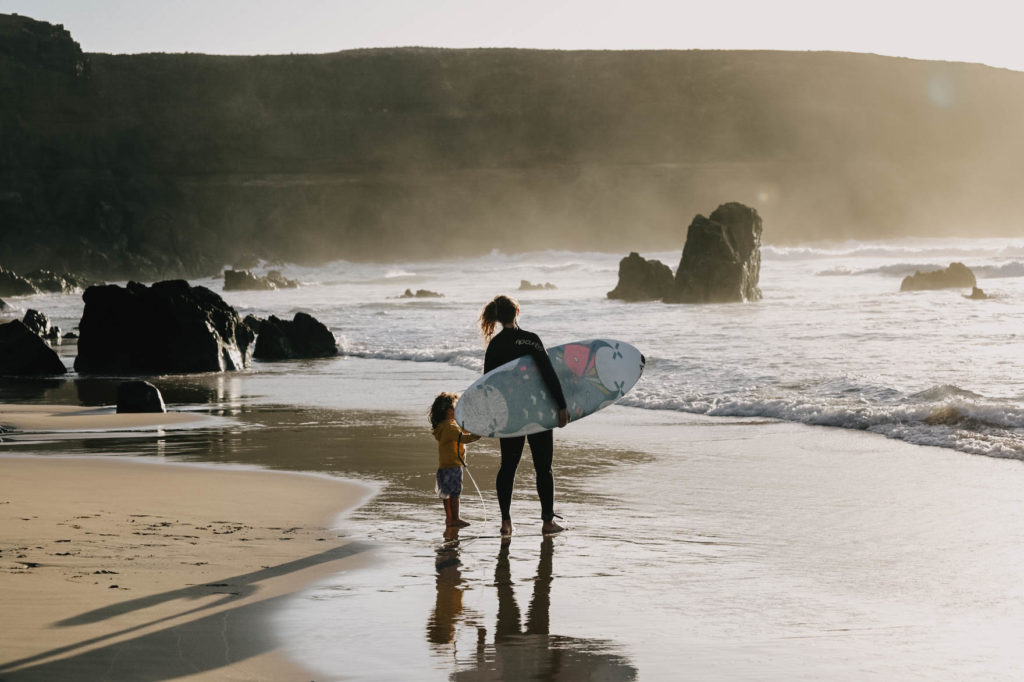 Mother and daughter surf in Corralecho Fuerteventura