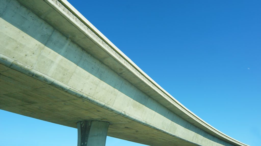concrete freeway overpass