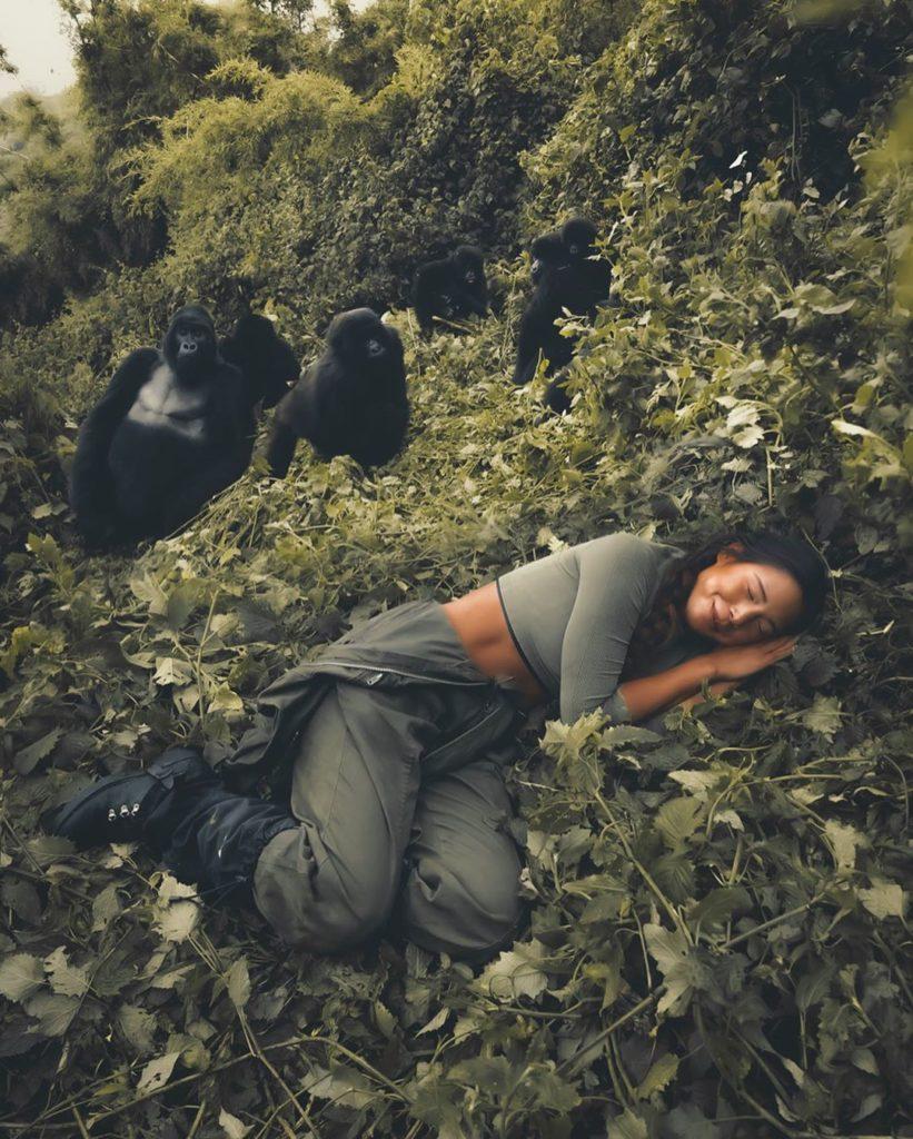 Marisa with Gorillas in Rwanda