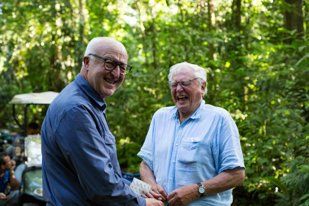 Chris Watson and long-time collaborator David Attenborough in Costa Rica 2019