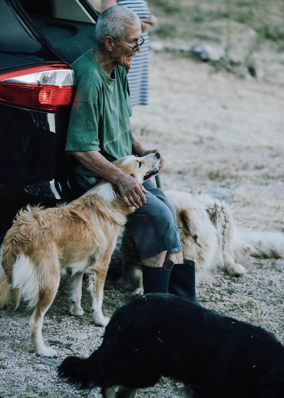 Old man with dogs in Montenegro