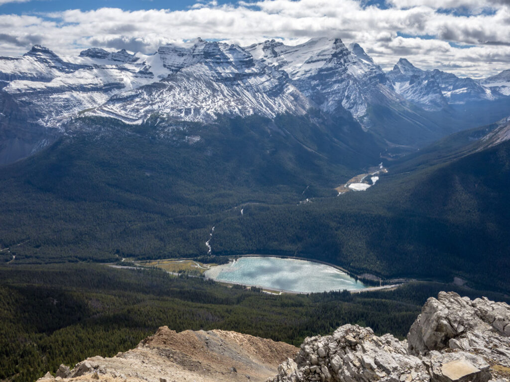 Canadian Rocky Mountains with a small lake infront