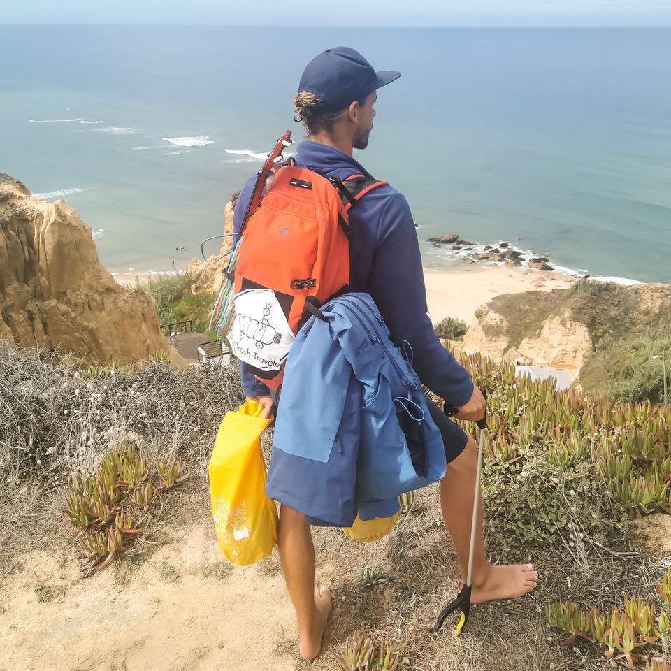 The Trash Traveler hiking in Portugal