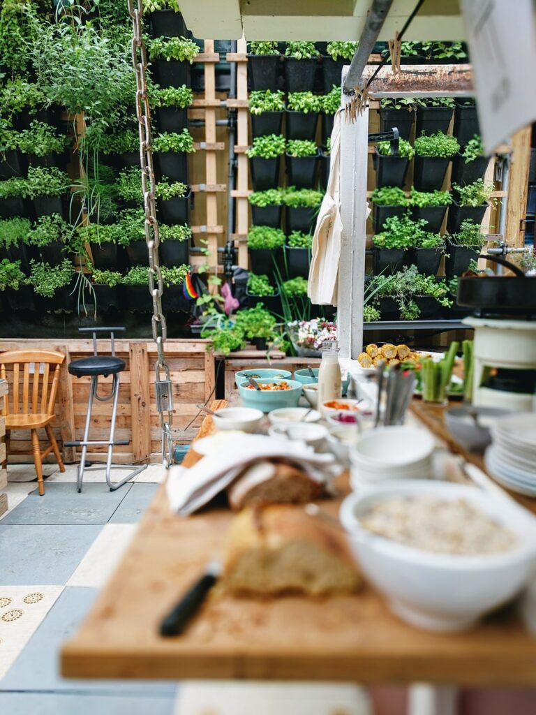 a Berlin vertical farming with salad bar placed infront