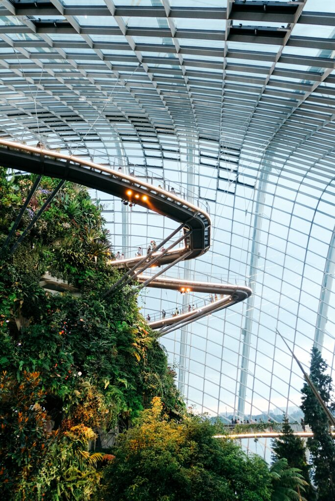 Gardens by the bay in Singapore with a futuristic look