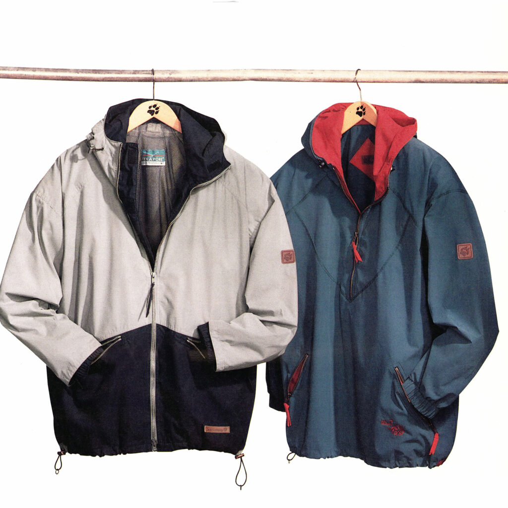 two old style Jack Wolfskin Jackets hanging next to each other