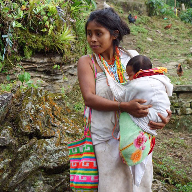 Mother with baby collecting herbs