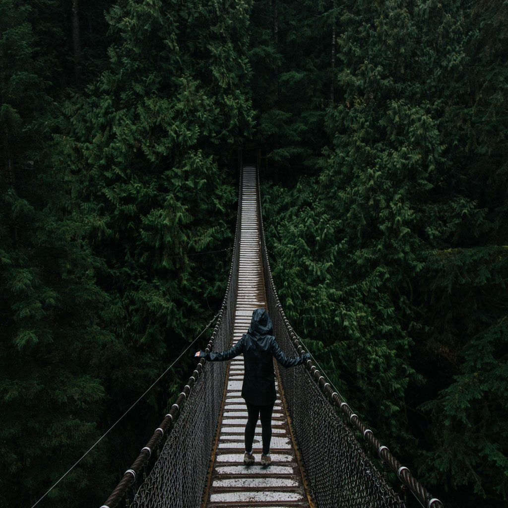 woman on a hanging bridge walking towards a dark forest
